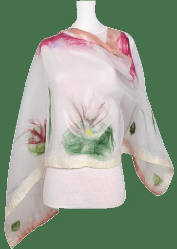 Fiori di Loto Stola organza lana merinos • NES Wearing Energy
