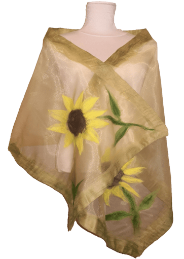 Girasoli Stola organza lana merinos • NES Wearing Energy
