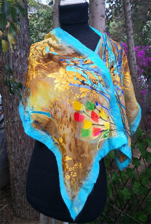 Sciarpa Crêpe de Chine in Seta - Scintille Variante Turquoise