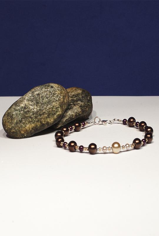 Braccialetto Argento Oro e Perle ecologiche – Gaia - NES Wearing Energy