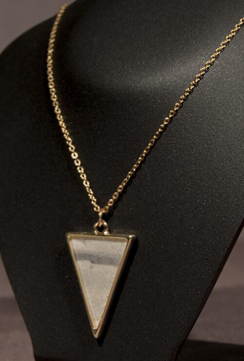 Girocollo Argilla Resina Naturale Rame Argentato -Triangulum