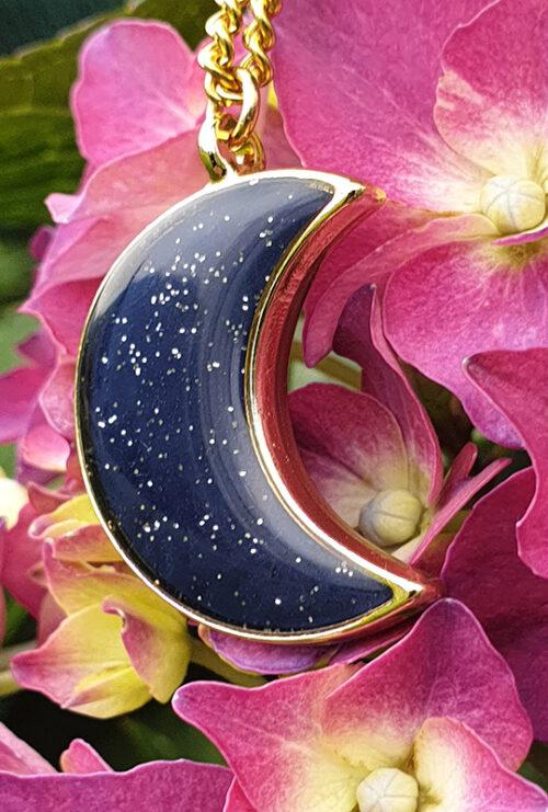 Girocollo Argilla Resina Naturale Rame Argentato - Blue Moon