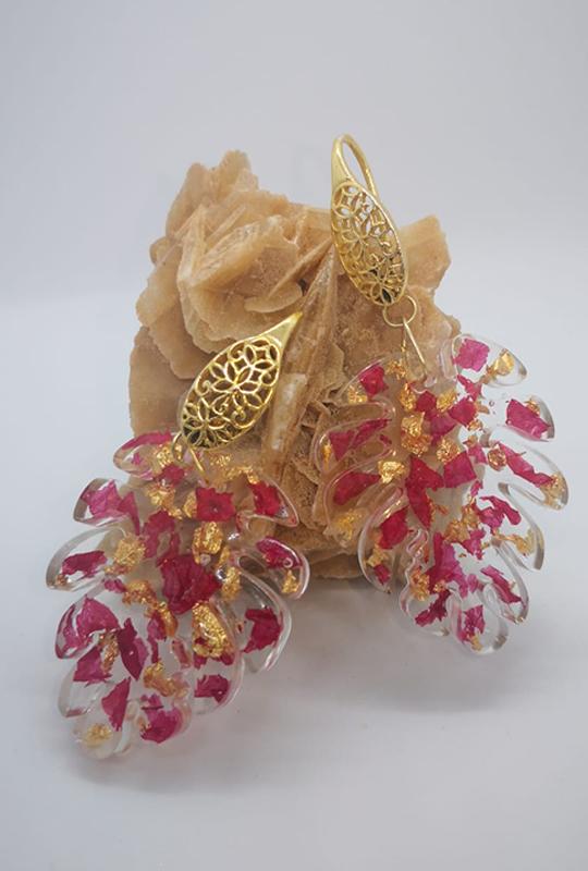 Orecchini resina ecologica, foglia d'oro argento dorato